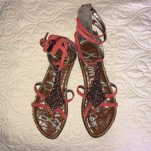 Sam Edelman ginger gladiator sandals in coral